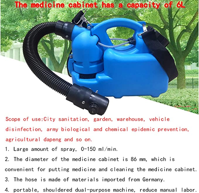 Hotel Hospital School Outdoor Air Disinfection Machine LWJDM 4.5L Electric ULV Fogger Portable Ultra-Low Atomizer Disinfection Sprayer for Farm Blue