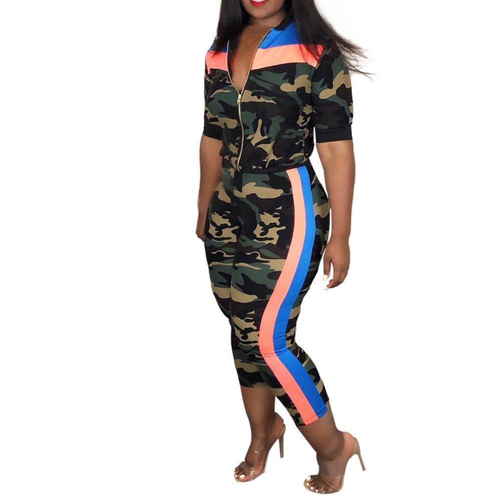 Women Zipper Camouflage Stripe Tops Loose Coat Long Pants Three Piece Set-KingWo