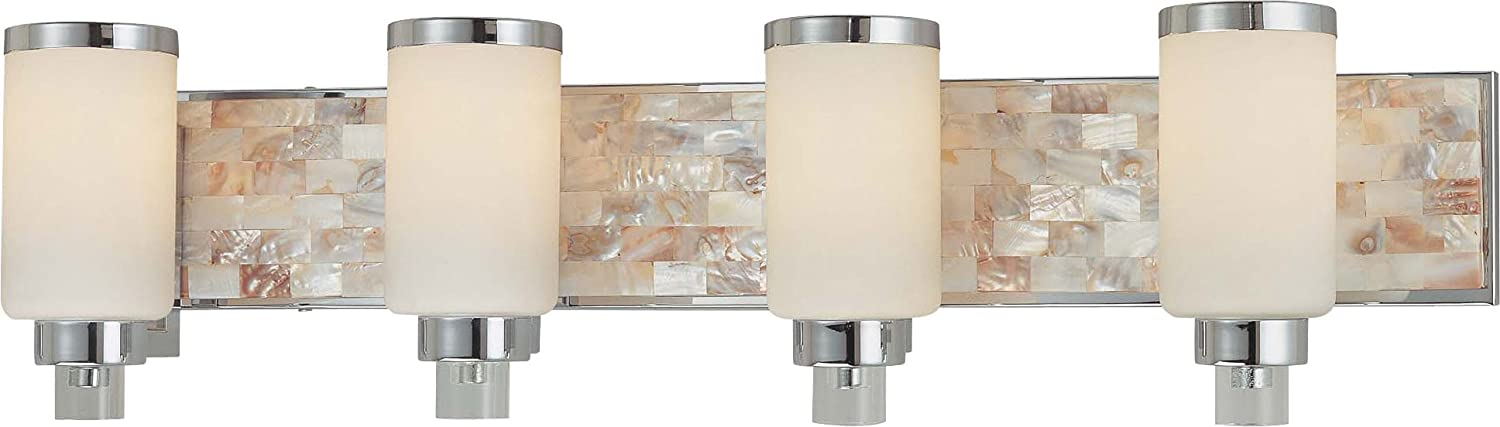 Minka Lavery Wall Light Fixtures 3244-77 Cashelmara Reversible Glass Bath Vanity Lighting, 4 Light, 400 Watts, Chrome