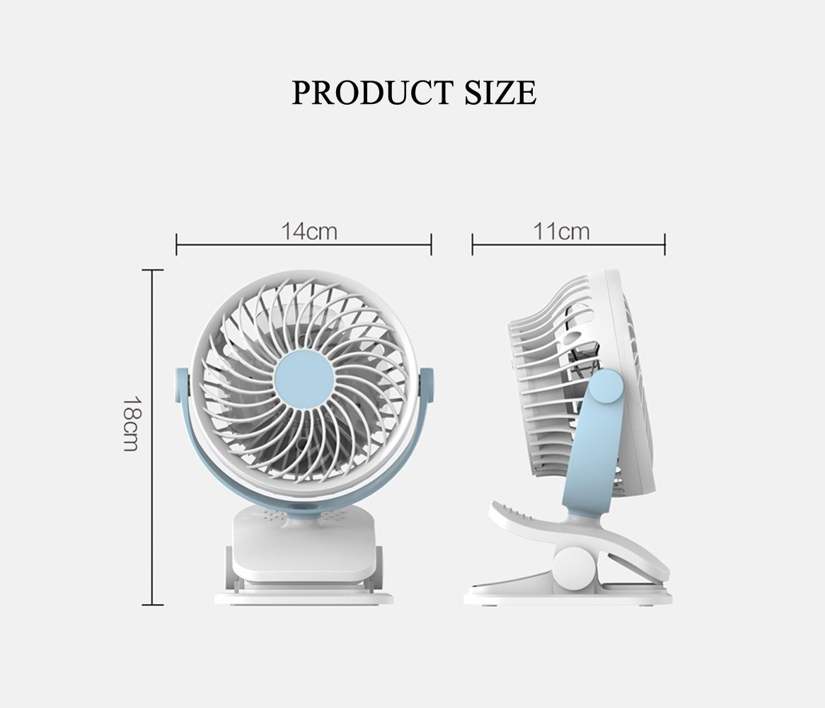 Baby Stroller Clip USB Fan Battery Operated Fan, Rechargeable, Quiet Design, Portable, 4-Speed Adjustable, for Desk, Tents, Car, Bed New- 4 Colors,Pink by YWXJY (Image #7)