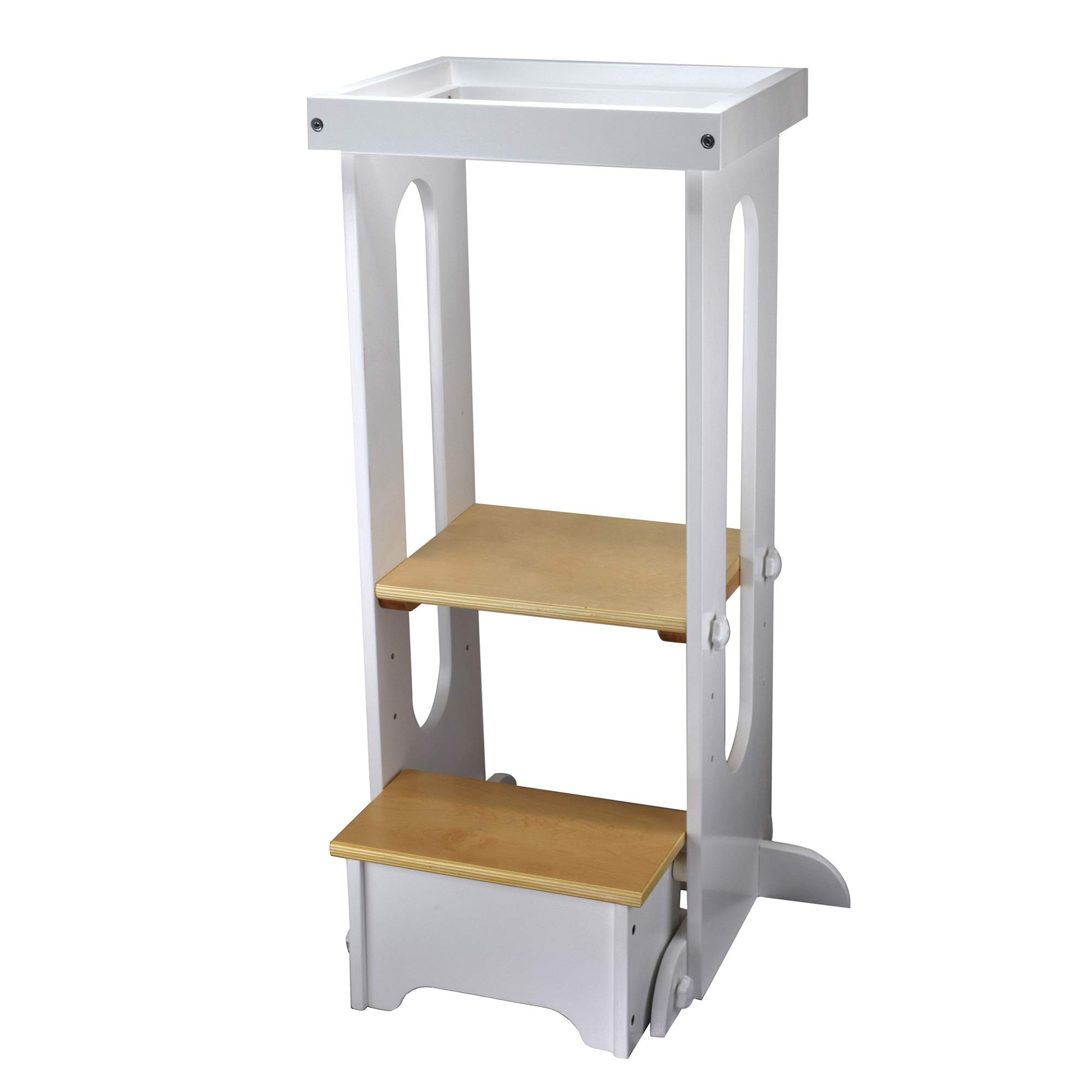 Little Partners Explore n Store Learning Tower Kids Adjustable Height Kitchen Step Stool for Toddlers or Any Little Helper - White and Natural Platform