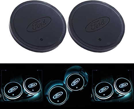 2 Pezzi LED Car Logo Cup Holder Pads 7 Colori Changing USB Charging Mats Bottle Coasters Car Atmosphere Lamps