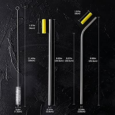 Metal Straws for Drinks With Silicone Tips and Long Brushes, Reusable Stainless Steel Drinking Straw For 20 30 OZ Tumblers, Dishwasher Safe(Set of 8)