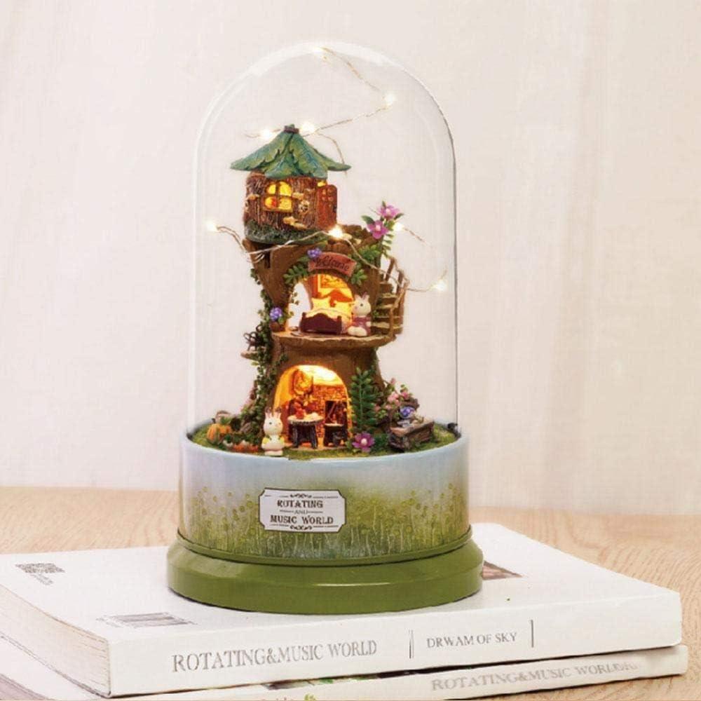 DIY Mini House Kit de casa de muñecas Herramientas Casa de muñecas en miniatura con muebles Rotating DIY Kit de casa de muñecas en miniatura Más prueba de polvo y movimiento de música ligera 1:24 Casa