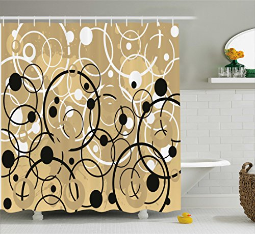 Ambesonne Tan Shower Curtain, Funky Grungy Composition with Circles and Dots Retro Artistic Imaginative Print, Fabric Bathroom Decor Set with Hooks, 70 Inches, Black White Tan