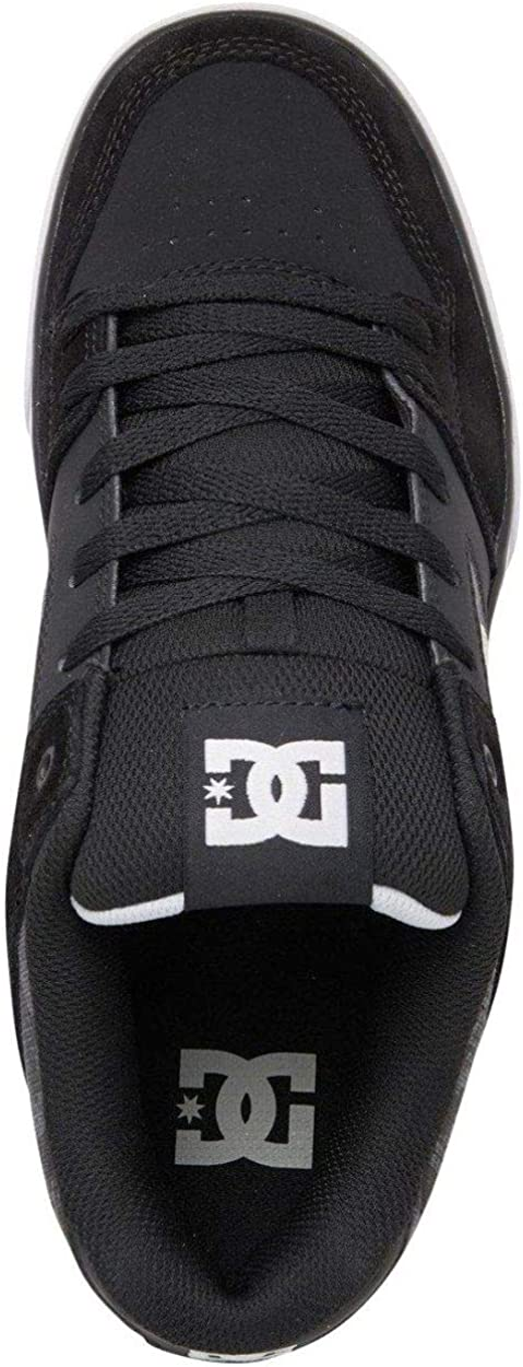 DC Pure Black Grey White Mens Leather Skate Trainers