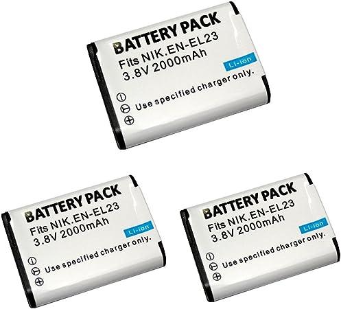 Image of 3 pcs 2000 mAh EN-EL23 ENEL23 Batería para Nikon COOLPIX P600 S810c P900 P610 Cámara (3 pcs Battery)