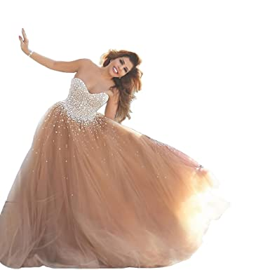 f6f0748d35 Gorgeous Crystal Sweetheart Champagne Tulle Prom Dresses Wedding Dress  Champagne 2