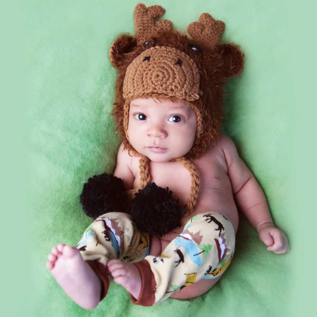 Huggalugs Baby and Toddler Moose Bear Buck Doe Camping Outdoors Beanie Hats or Legwarmers Pants