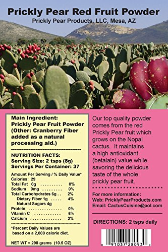 Amazoncom Prickly Pear Red Fruit Powder With Cranberry Fiber 1