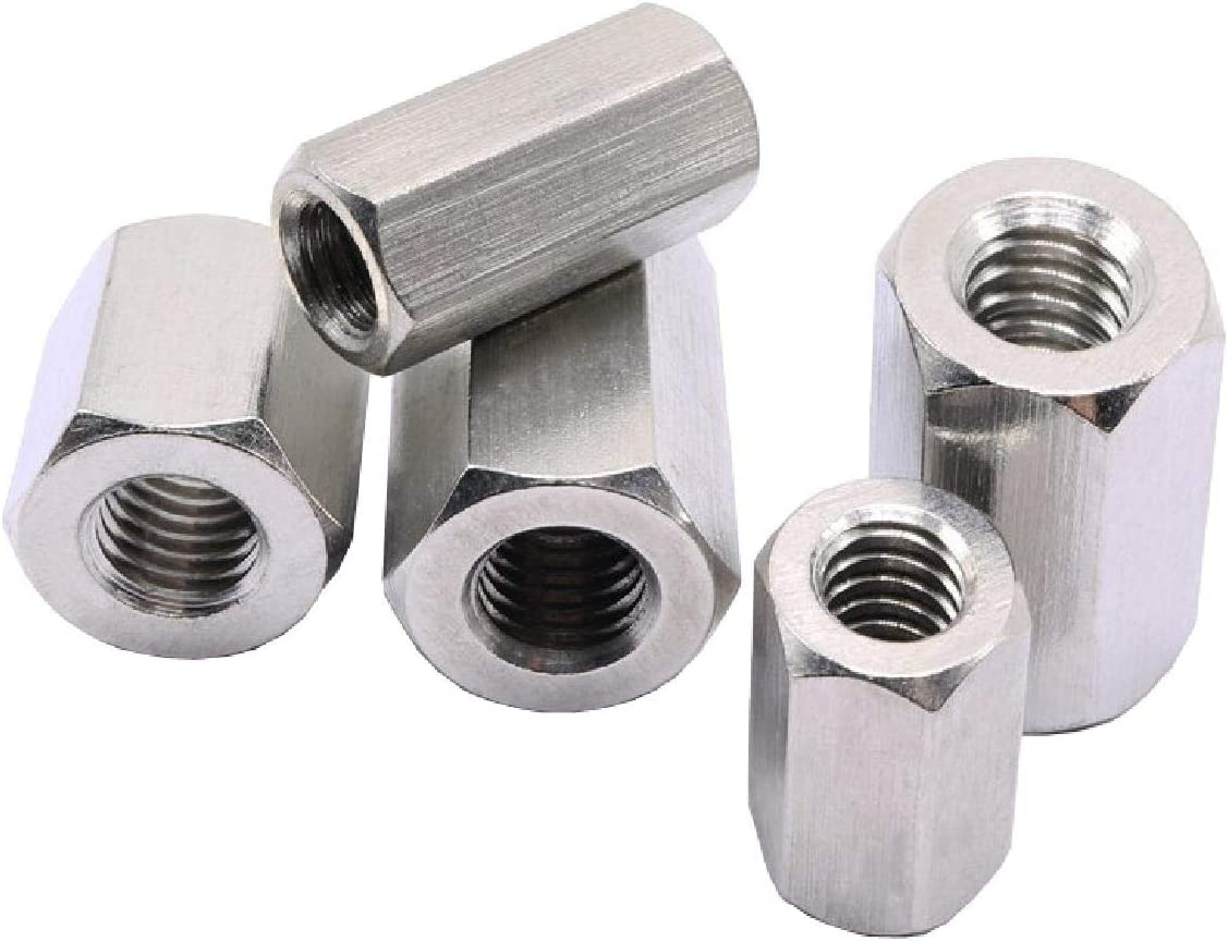 for Connecting Screwed Rod Bars 5 x Metric Hexagon 8mm Connector Long Nuts