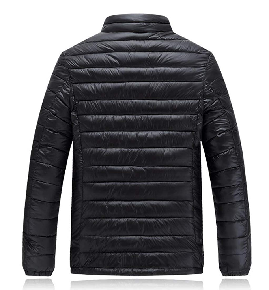 Coolred-Men Padded Parka Hoodie Jackets Light Weight Down Zip Quilted Jacket