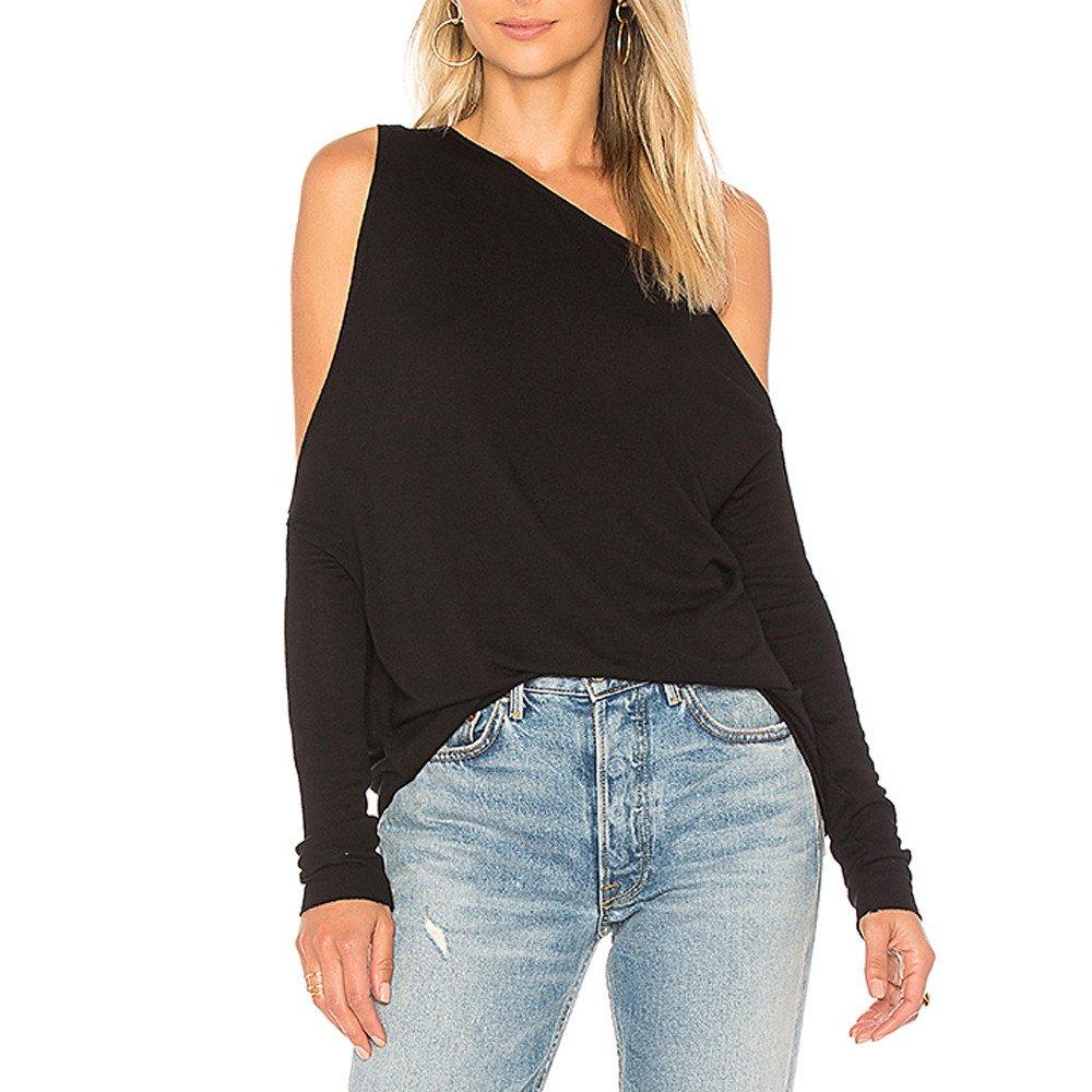 Blouse For Women-Clearance Sale, Farjing Single Shoulder Oblique Collar Long Sleeves Pure Color Tops Loose Blouse(US:8/L,Black)