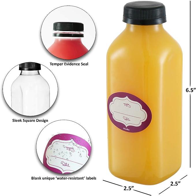 rosenice 250/ml recipiente a boca ancha almacenamiento botella vac/ía de pl/ástico con tapas 6/piezas