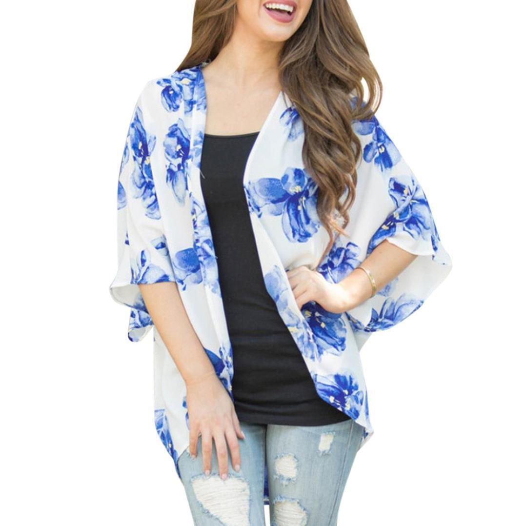 fbb0f1d9421 Amazon.com: Toponly Women's Summer Floral Open Cape Casual Loose ...