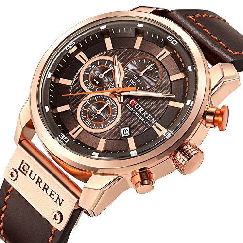 (Men Leather Strap Military Watches Men's Chronograph Waterproof Sport Wrist Date Quartz Wristwatch Gifts (Gold Brown))