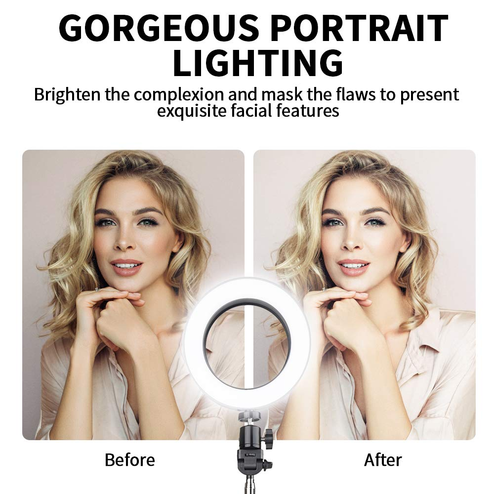 Portrait Vlog Selfie Ring Light TRAVOR Upgrade 19inch Outer 60W Dimmable 512PCS LED Ring Light with Stand Adjustable Color Temperature 3200K-5900K for Phone Camera YouTube Makeup Video Shooting