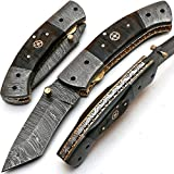 Custom Handmade Damascus Steel Hunting Folding Pocket Knife -Sword/Chef Kitchen Knife/Dagger/Full Tang/Skinner/Axe/Billet/Cleaver/Bar/Bowie/Kukri/knives accessories/survival/Camping With Sheath 8851