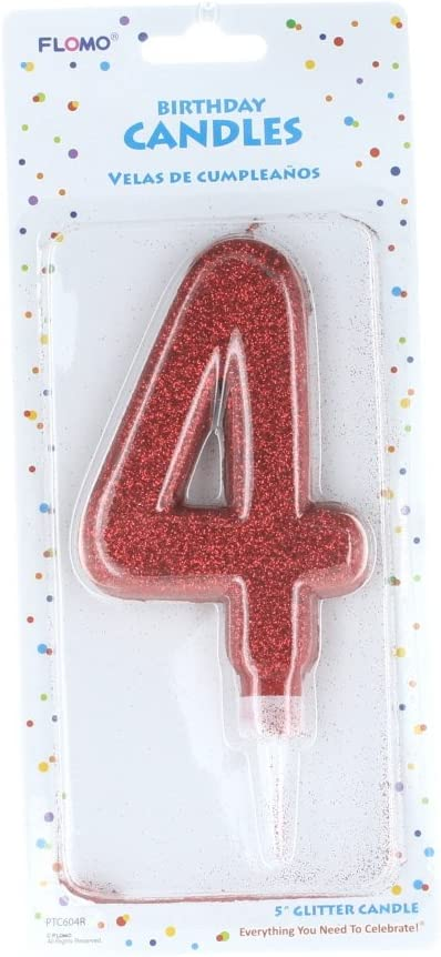 Amazon.com: FLOMO Large Glitter Number #4 Happy Birthday ...