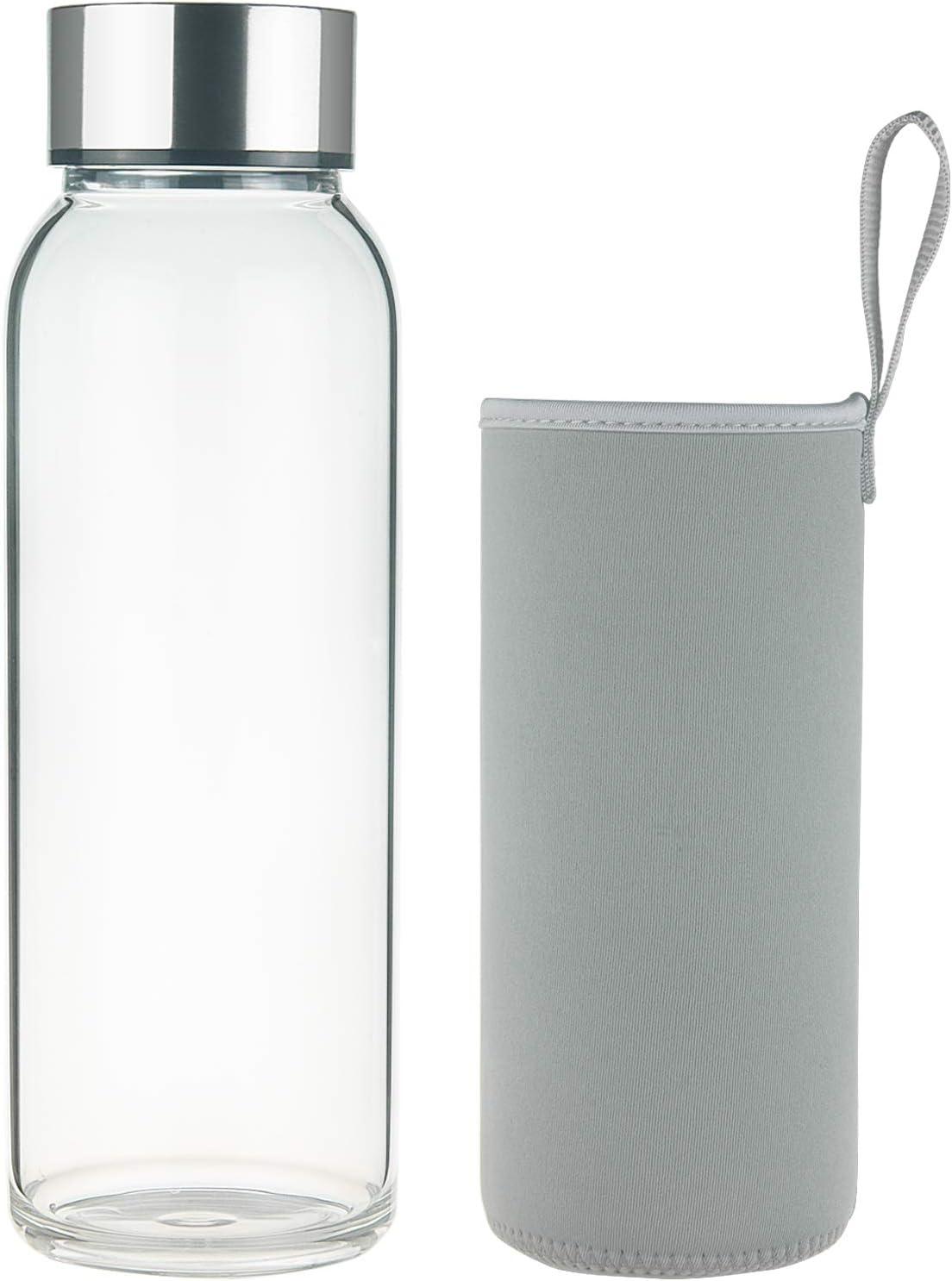 FCSDETAIL Botella de Agua de Cristal sin BPA, Botella de Agua de Vidrio de Borosilicato con Funda de Neopreno y Tapa de Acero Inoxidable 1000ml / 1500ml