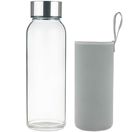 FCSDETAIL Botella de Agua de Cristal sin BPA, Botella de Agua de Vidrio de Borosilicato con Funda de Neopreno y Tapa de Acero Inoxidable 1000ml / ...