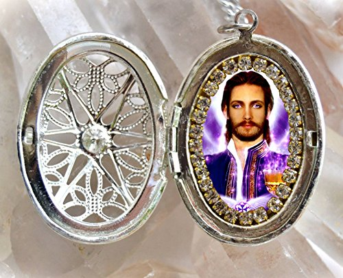 Saint Germain The Ascended Master of the Violet Flame Seventh Ray Locket Necklace Catholic Christian Religious Jewelry Medal - Ray Saint