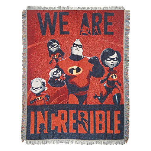"Disney-Pixar Incredibles 2, ""Fighter Family"" Woven Tapestry Throw Blanket, 48"" x 60"", Multi Color, 1 Count"