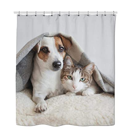 AlCrichton Cat Shower Curtain Rings Dog Blanket Fluffy