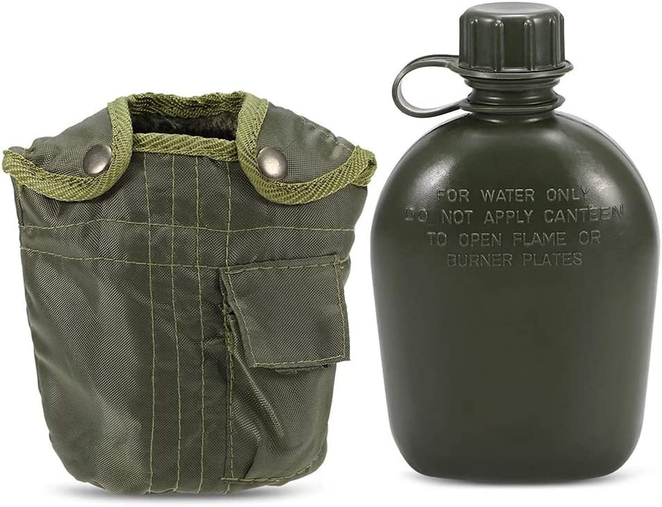 Suszian Botella de Agua, Botella de Agua Militar de Aluminio para Deportes al Aire Libre con Cubierta de Tela Verde Militar para Acampar Picnic, cantimplora de Viaje, Ciclismo, Taza al Aire Libre