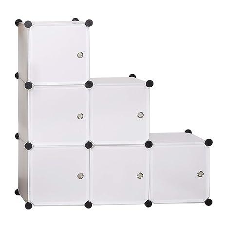 eSituro Armario Organizador Modular Estanterías de Montaje de DIY, Armario de Almacenamiento de Plástico, Armario Estantería con 6 Cubos Blanco ...