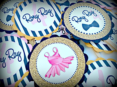 12 - Cupcake Toppers - Tutus and Bow Ties Happy Birthday Collection - Black Stripes, Gold Glitter Background & Pink and White Accents - Party Packs Available