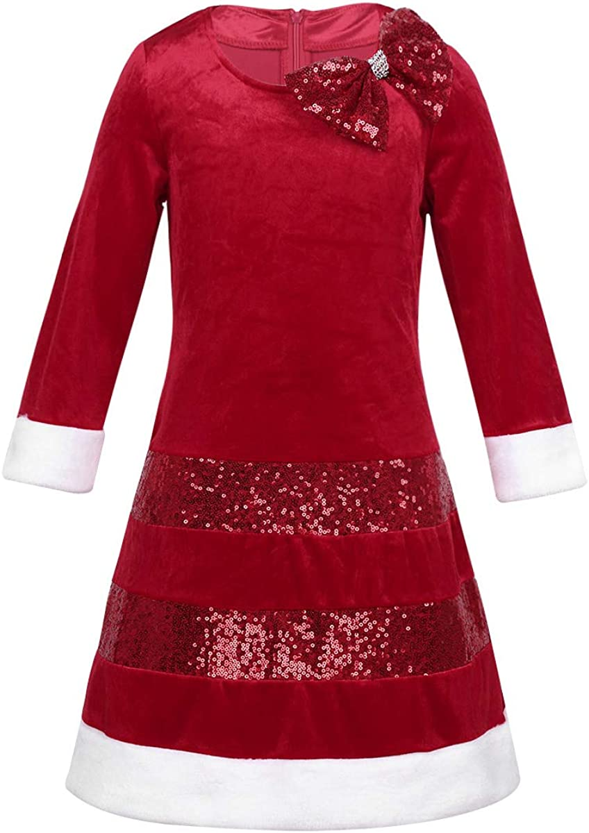 YiZYiF Little New color Girls' Sparkly Red Party Christmas Max 40% OFF Velvet Holiday