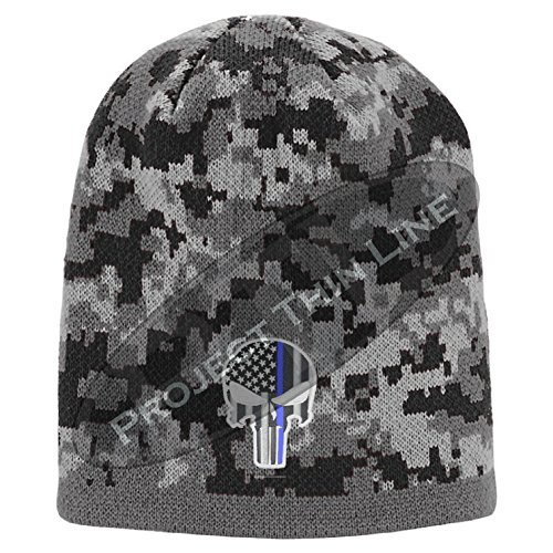 Camouflage Embroidered Subdued Thin Blue Line Punisher Inlayed American Flag Skull Cap (Digital Camo Winter Hat)