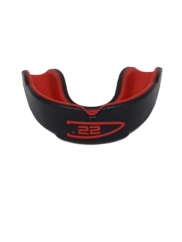 Protector bucal unisex para niños y adultos de Point22 de goma, para proteger los dientes, ideal para deportes como boxeo, artes marciales, rugby, entre otros, de color negro con rojo