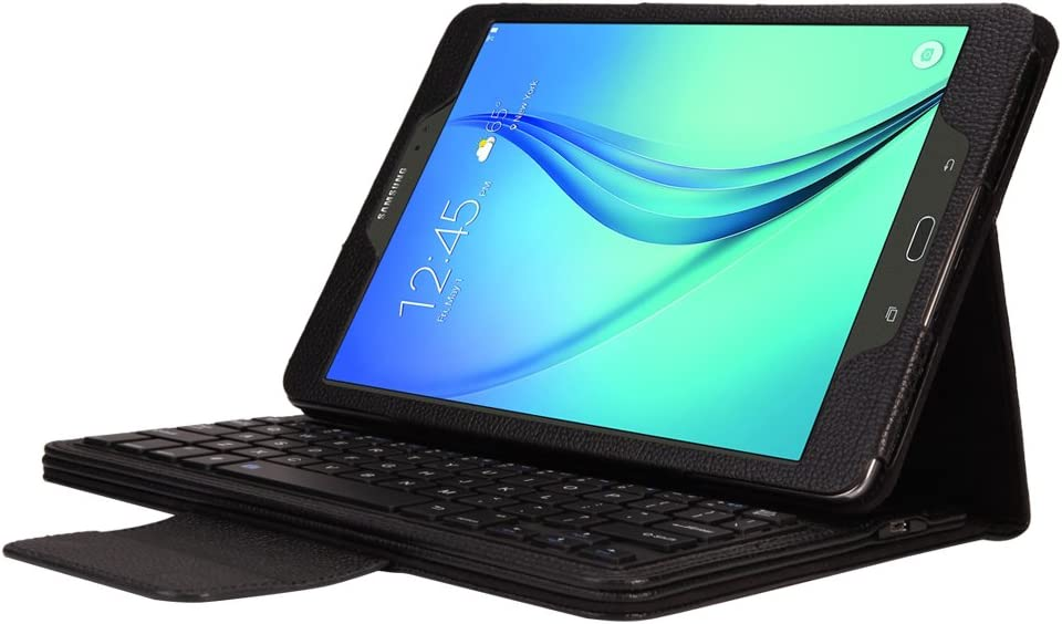 Lrufodya Keyboard Case for Tab A 8.0 inch-2015 Model Tablet,(SM-T350/SM-T355C/SM-P350/SM-P355C),Detachable PU Leather Wireless Keyboard Stand Case/Cover for Samsung Tab A 8.0 T350, Black