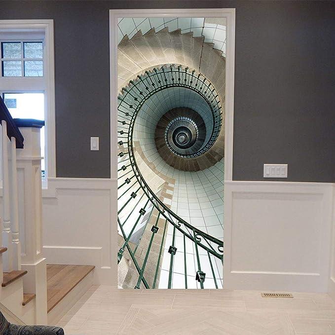 MENTZZXM Vista 3D Escaleras De Caracol Foto Murales Papel Tapiz Sala De Estar Etiqueta PVC Impermeable para La Decoración del Hogar: Amazon.es: Hogar