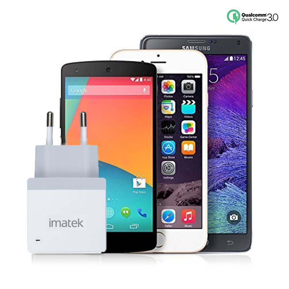 Galaxy S9 S8 Note 8 e Altri Dispositivi USB Compatto per iPhone XS XR X 8 7Plus 2 USB 4.8A iPad con Output Massima fino a 4.8A IMATEK Caricatore USB da Muro a 2 Porte 24W, 5V//4.8A