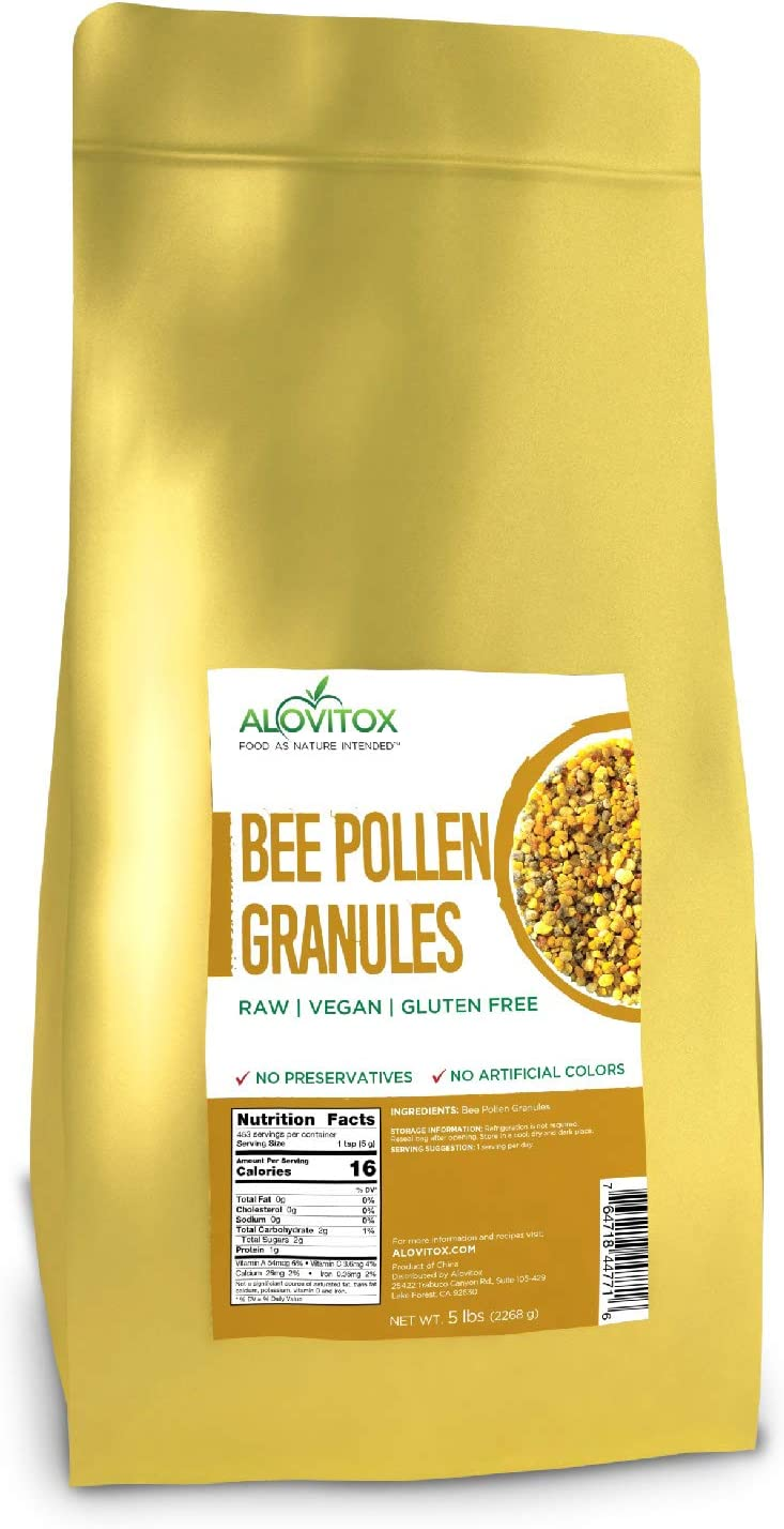 ALOVITOX Bee Pollen Granules 5 lb | 100% Pure, Natural Raw Bee Pollen - Antioxidants, Proteins, Vitamins B6, B12, C and A, Amino Acids and More (5 Pound)