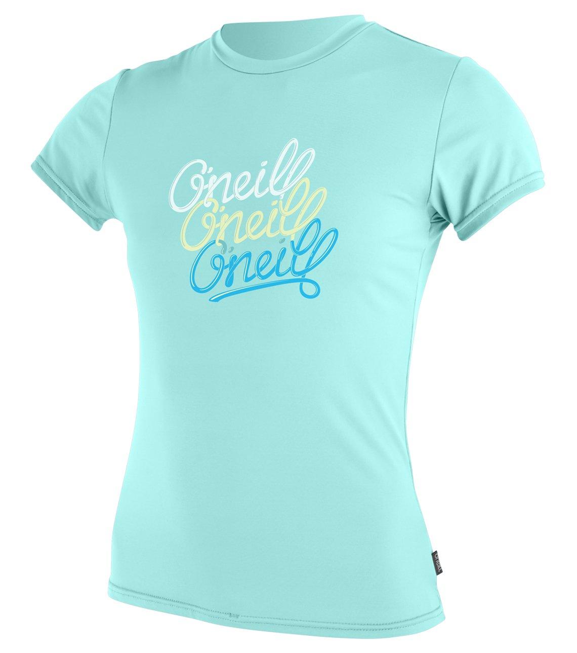 O'Neill Girls Premium Skins UPF 50+ Short Sleeve Sun Shirt, Seaglass, 4