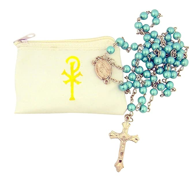 Catholic Women's Aqua Glass Bead Rosary with White Zipper Vinyl Case