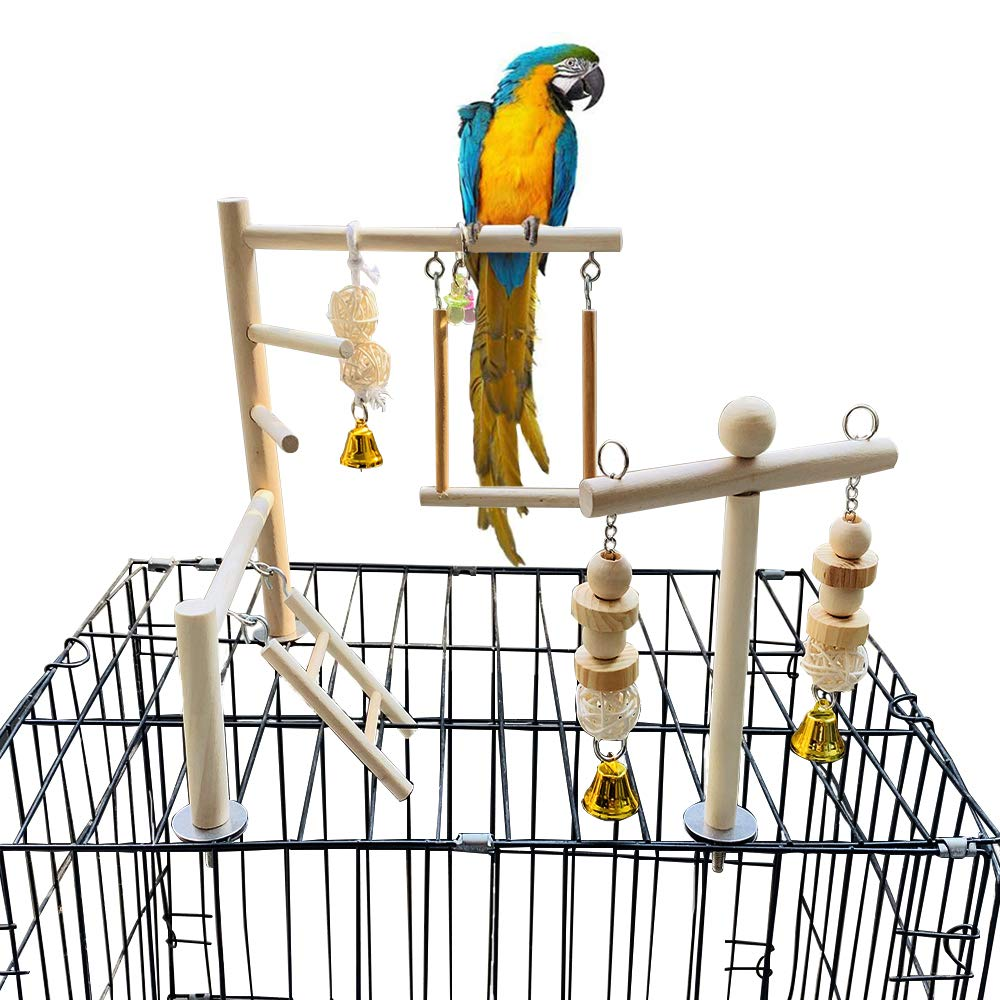PINVNBY Bird Playground Parrot Play Gym Parakeet Cage Play Stand Wooden Perches Playpen Ladders Conure Chewing Climbing Swing Toy Birdcage Accessories for Cockatoo Cockatiel Lovebirds Budgie Electus by PINVNBY