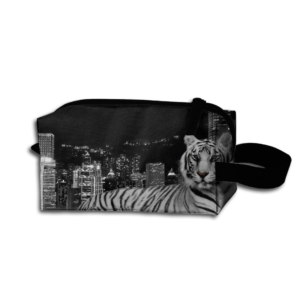 Makeup Cosmetic Bag Animals Tiger In City Zip Travel Portable Storage Pouch For Mens Womens