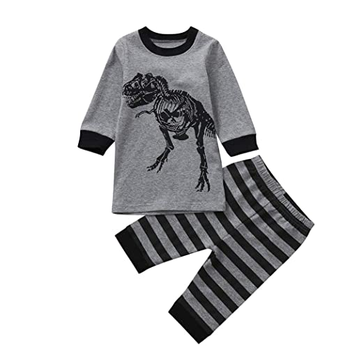 Fashion toddler boys clothing set 2PCs Dinosaur Bone
