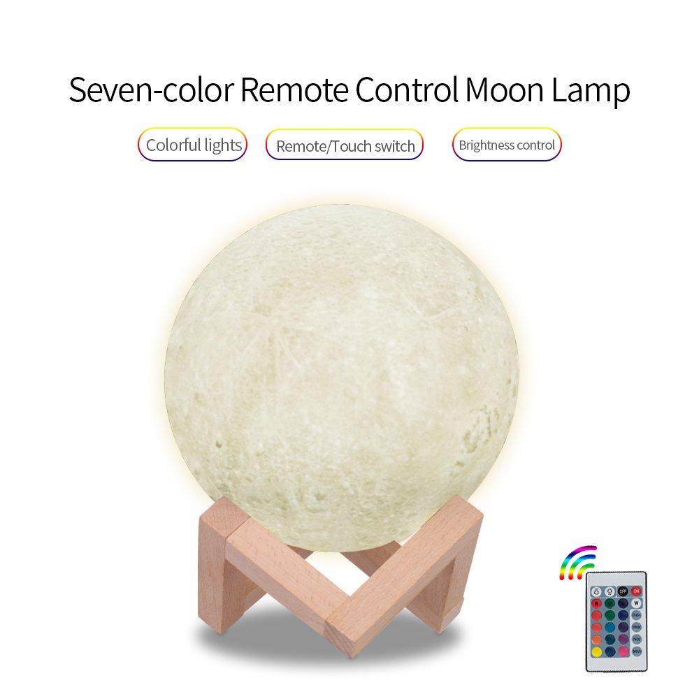 Night Light 20 cm withリモートコントロールBestギフトとUSB充電式LED夜間ライトMagical Lunarテーブルランプwith木製スタンドホームインテリアオフィス子供寝室7-color & 7.9inch B07C6PG2G1 21396