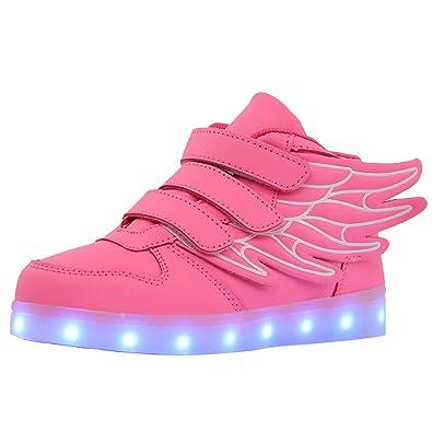 5eec0e3110f67 bevoker Baskets LED Enfants Garçon Fille Chaussure de Sports avec Ailes 7  Couleurs Clignotante USB Rechargeables