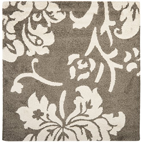 Safavieh Florida Shag Collection SG458-7913 Smoke and Beige Square Area Rug (6'7