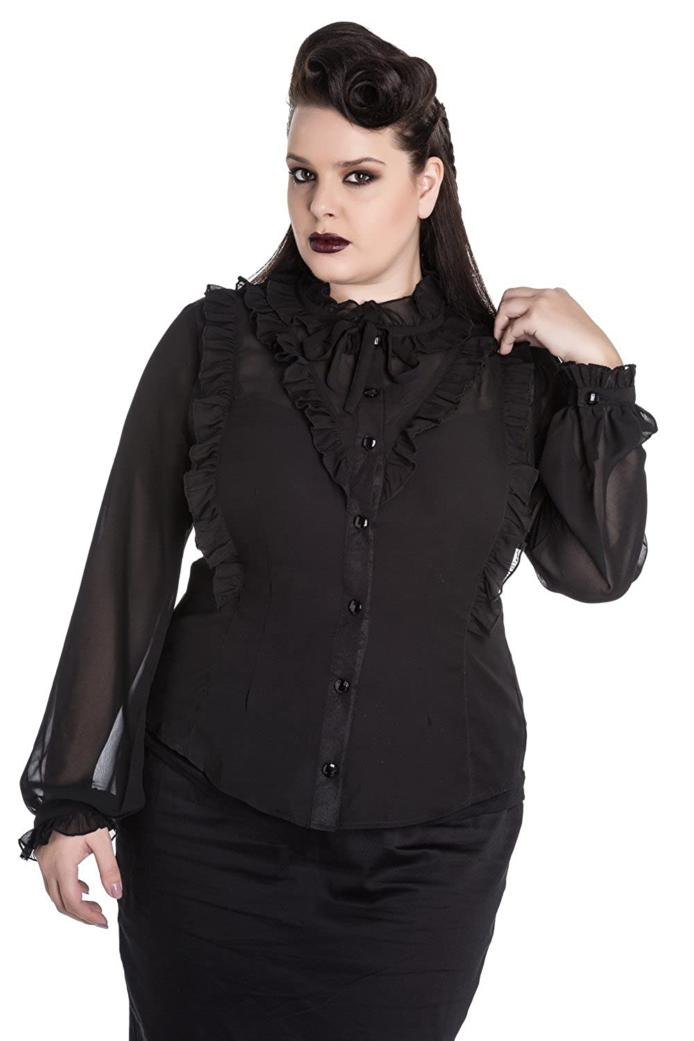 Vintage Retro Halloween Themed Clothing Hell Bunny Demetria Victorian Gothic Burlesque Ruffle Top Black Shirt Blouse $44.99 AT vintagedancer.com