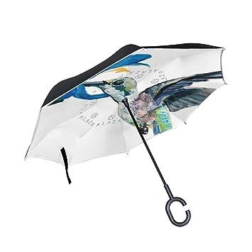 ALAZA doble capa diseño de colibrí paraguas coches Reverse resistente al viento lluvia paraguas para coche