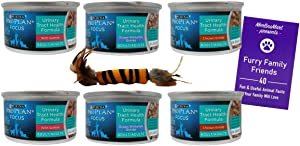 Purina Pro Plan Focus Urinary Tract Health Formula Cat Food Entree 3 Flavor 6 Can Sampler Bundle - (2) Each: Chicken, Ocean Whitefish, Salmon (3 Ounces) - Plus Catnip Toy and Fun Facts Booklet Bundle