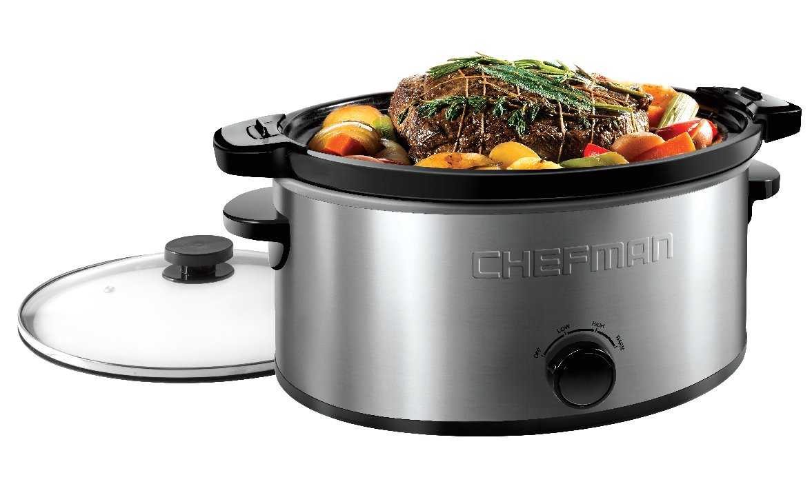 Chefman 6 Quart Locking Lid Slow Cooker with 3 Manual Heat Settings and Removable Stoneware Crock Insert, Large Family Size, Stainless Steel